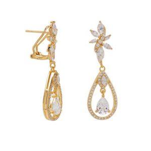 14 Karat Gold Plated CZ Cluster Dangle Earrings