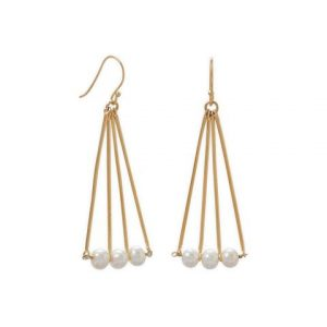 14 Karat Gold Plated Geometric and Cultured Freshwater Pearl Earring