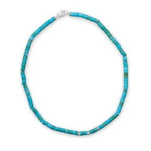 """21"""" Reconstituted Turquoise Heshi Bead Necklace"""
