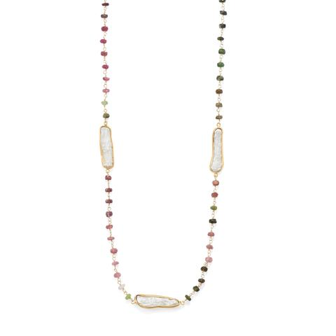 """24"""" 14 Karat Gold Plated Tourmaline and Cultured Freshwater Pearl Necklace"""