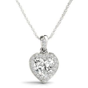 Gold Diamond Heart Shape Halo Necklace