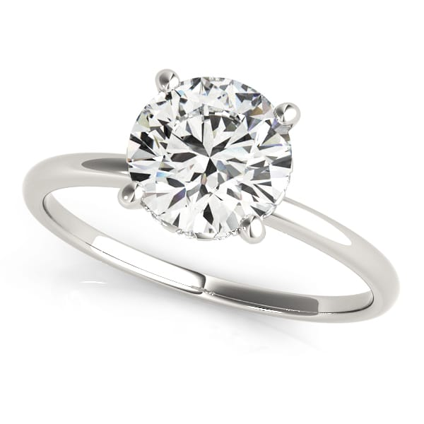 Diamond Hidden Halo single Solitaire Ring front look