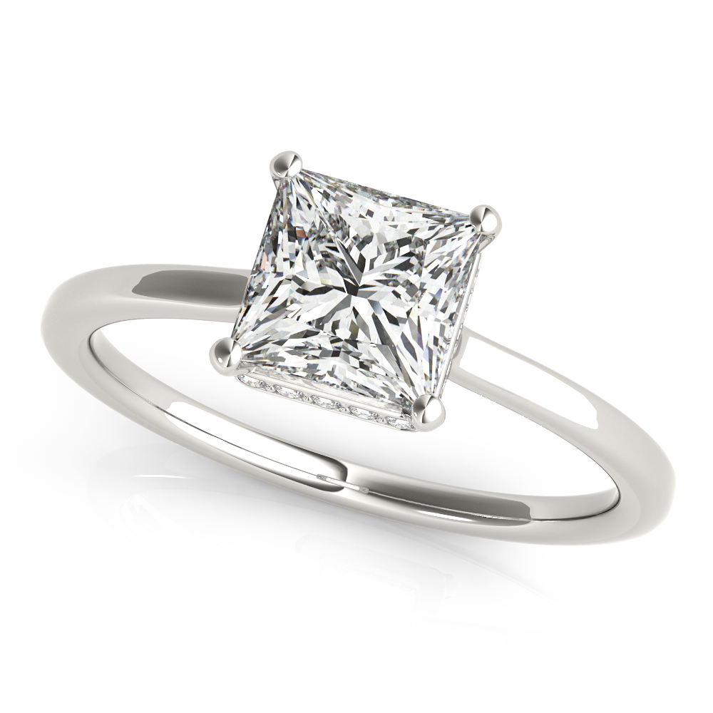 Diamond Princess Cut Hidden Halo Ring