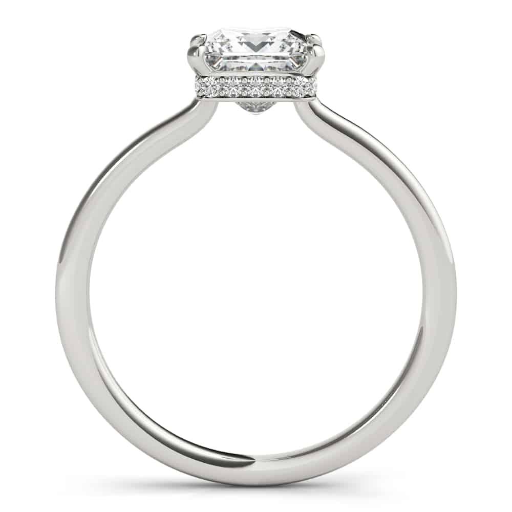 princess cut hidden halo ring side