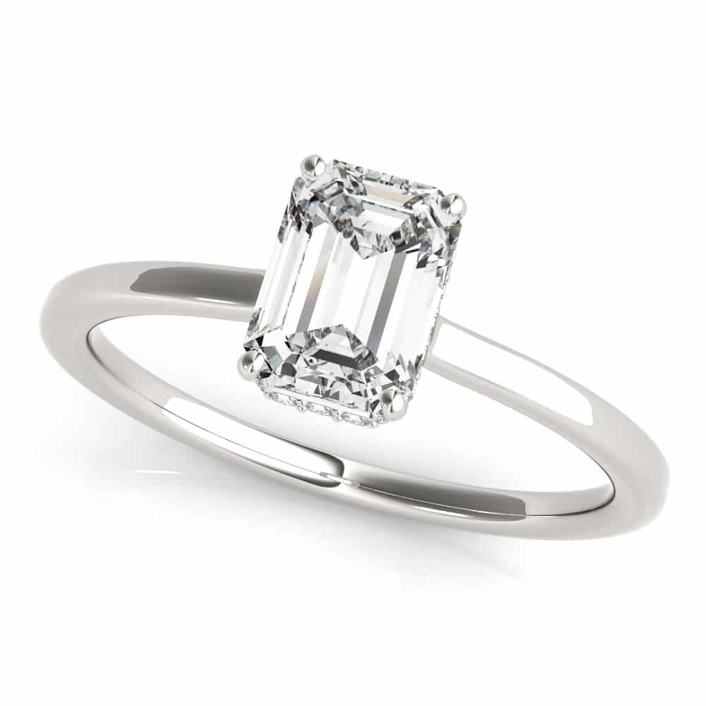 hidden halo plain engagement ring