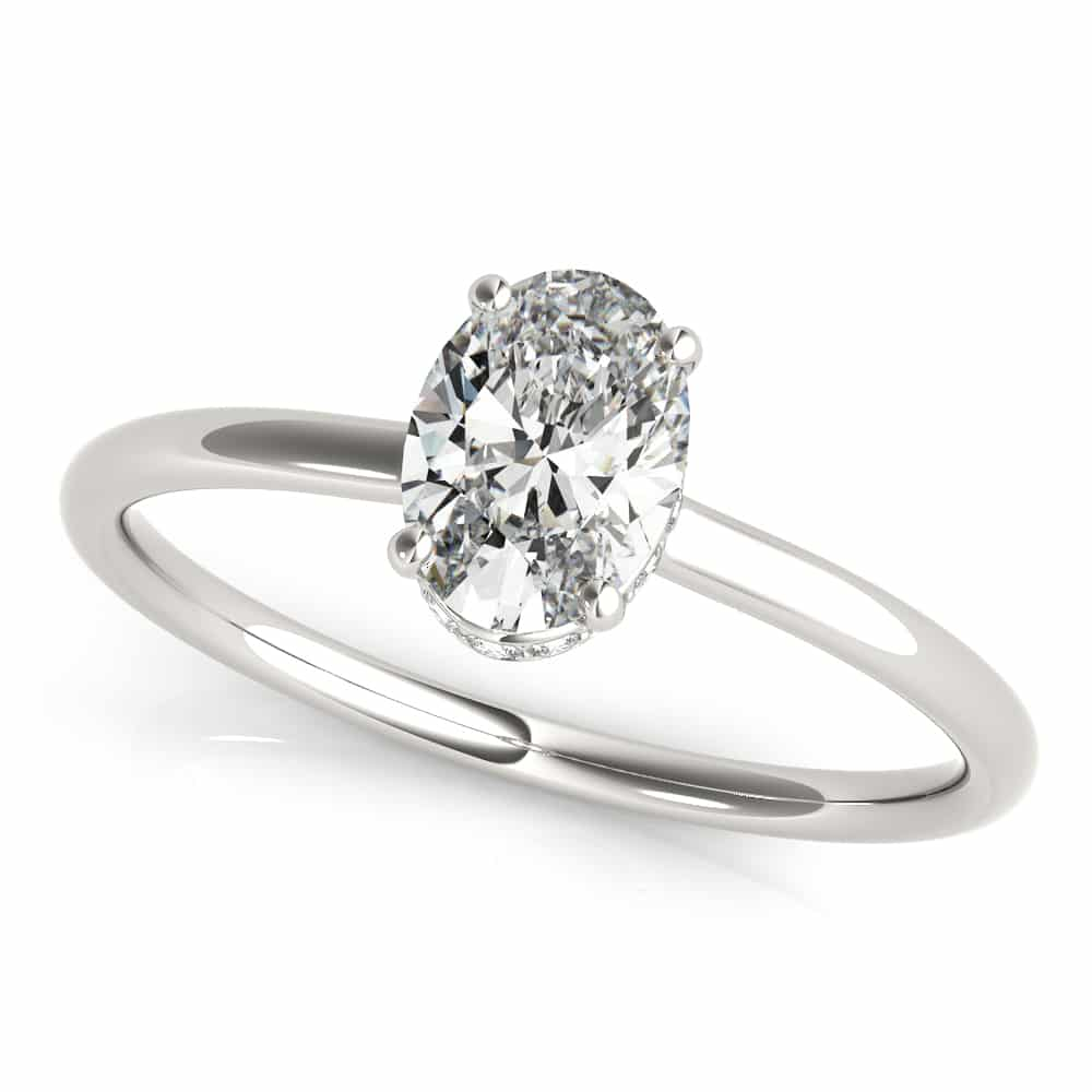Diamond Oval Hidden Halo Ring
