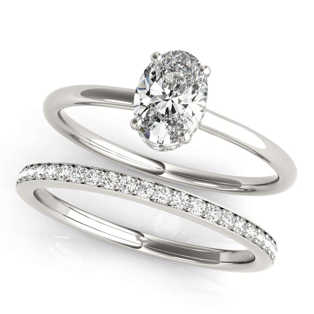 oval hidden halo rings
