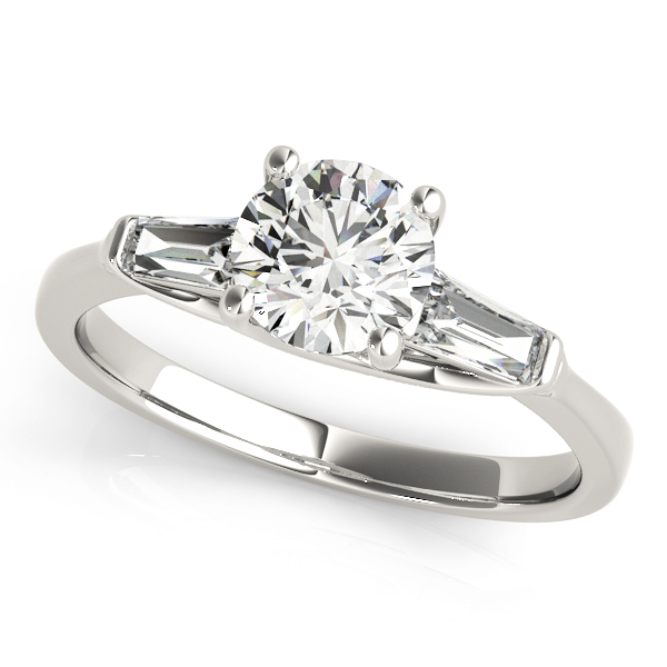 Diamond Engagement Ring With Baguette Side Stones