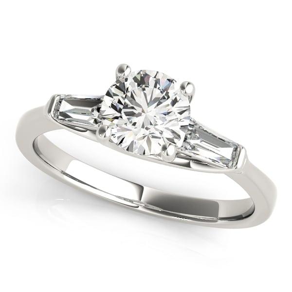 baguette side diamond engagement ring upper look