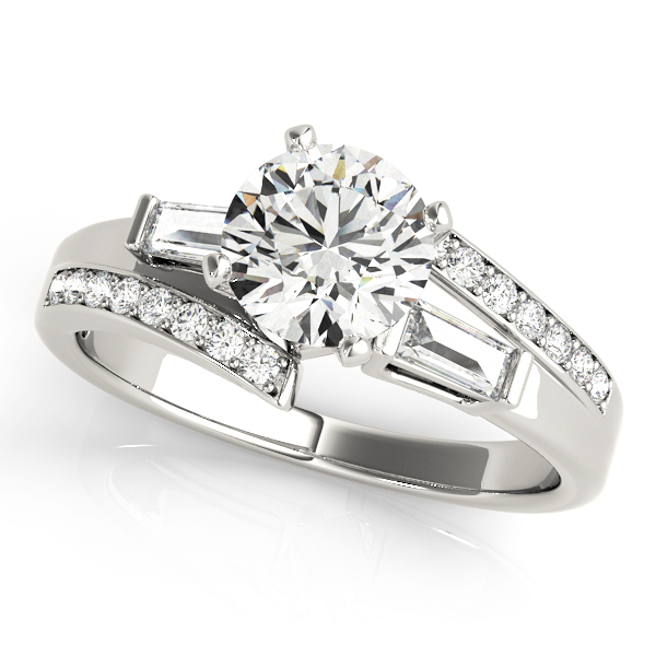 Diamond Engagement Ring With Fancy Side Stones