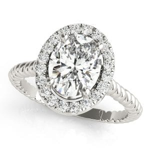 Oval Halo twisted string Engagement Ring Front look