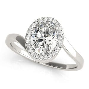 Oval Halo Diamond Ring front look