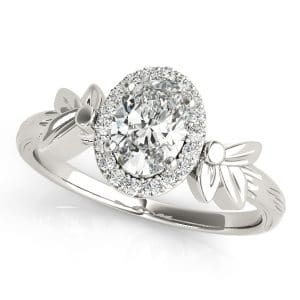 Oval Halo Diamond Sterling Silver Rings
