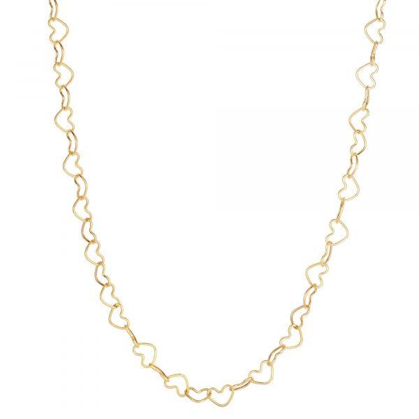 14K Gold Heart Link Necklace