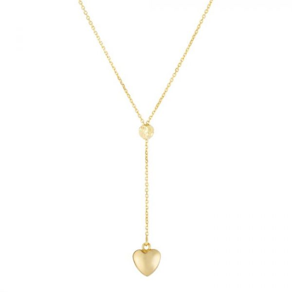 14K Gold Heart Lariat Necklace