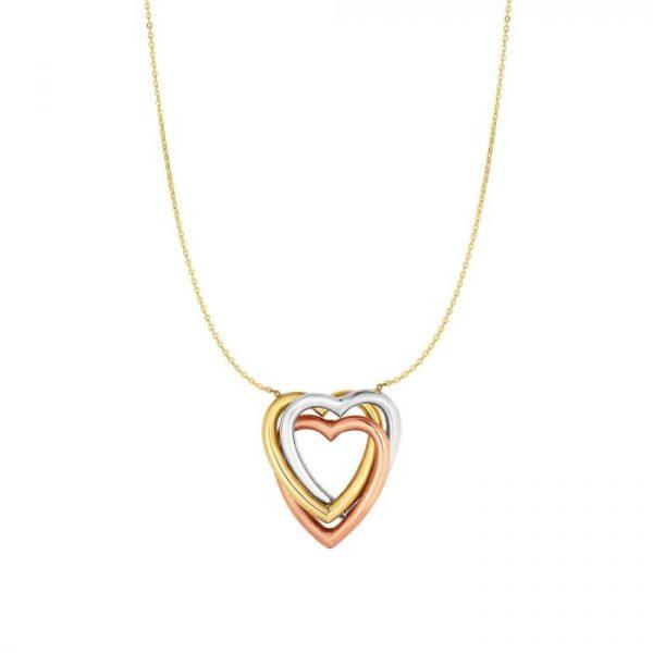 10K Gold Triple Heart Necklace